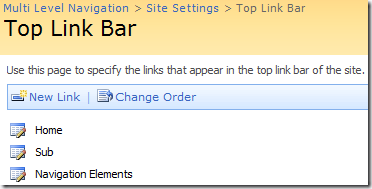 configure top link bar