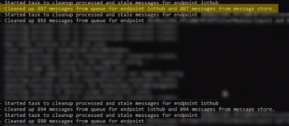 picture with logfile lines like Cleaned up messages from queue for endpoint iothub and messages from message store